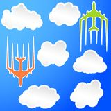 Flying airplane Airliner jet transport icon illustration.  Royalty Free Stock Photo