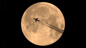 Flying Airplane On Background Of The Moon stock video