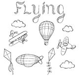 Flying airplane balloon airship kite cloud graphic art black white isolated illustration Stock Image