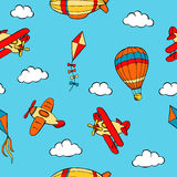 Flying airplane balloon airship kite cloud graphic art color seamless pattern illustration Stock Photos