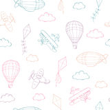 Flying airplane balloon kite cloud graphic color sketch seamless pattern illustration. Vector Stock Image