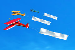 Flying airplane and banner on blue sky. 3D illustration Stock Images