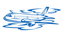 Flying airplane. In blue clouds. Vector illustration royalty free illustration