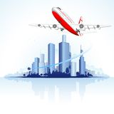 Flying Airplane on City Scape Royalty Free Stock Images