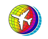 Flying airplane on earth globe. For travel or transportation design Stock Image