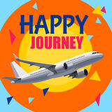 Flying Airplane with Happy Journey Header. vector illustration