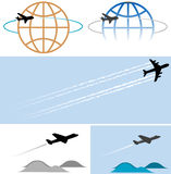 flying airplane icons symbols Stock Photos