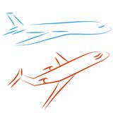 Flying airplane,  illustration. Flying  airplane, icon plane. Design element. Airliner, jet Royalty Free Stock Images