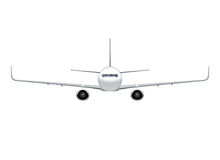 Flying airplane, jet aircraft, airliner. Front view of detailed realistic passenger air plane isolated on white background. Vector illustration Stock Images