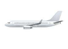 Flying airplane, jet aircraft, airliner. Side view of detailed passenger air plane isolated on white background. Vector illustration stock illustration