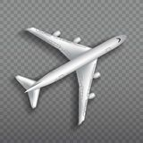 Flying airplane, jet aircraft, airliner. Top view of detailed realistic passenger air plane isolated on transparent. Background. Vector illustration Stock Photography