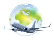 Flying airplane. Large commercial passenger airplane flying over world globe royalty free illustration
