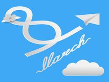 A flying airplane from the paper leaves a trace in the form of a wake-up. Postcard on the International Women`s Day at 8th of Mar. Vector postcard on March 8 royalty free illustration