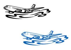 Flying airplane. In silhouette style. Vector illustration Royalty Free Stock Photos
