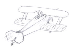 Flying airplane sketch Stock Photos