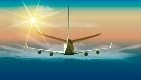 Flying airplane in the sky. Vector illustration of jet flying in sunny blue sky in back view. Vector illustration of jet flying in sunny blue sky in back view Stock Photos
