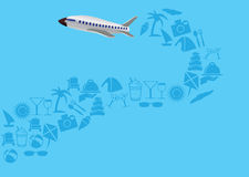 Flying Airplane with Trail of Vacation icons Vector Illustration Stock Images