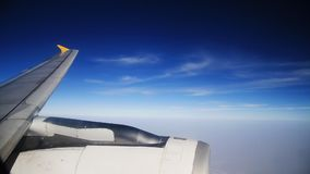 Cruising on an airplane stock footage