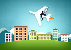 Flying the airplane Royalty Free Stock Photos
