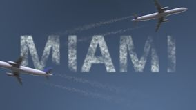 Flying airplanes trails and Miami caption. Traveling to the United States conceptual 3D rendering. Flying airplanes and Miami caption. Traveling to the United stock illustration