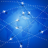 Flying Airplanes Over the Map Royalty Free Stock Image