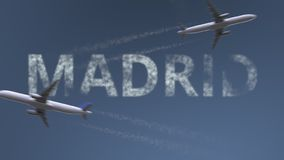 Flying airplanes trails and Madrid caption. Traveling to Spain conceptual 3D rendering. Flying airplanes and Madrid caption. Traveling to Spain conceptual 3D vector illustration
