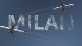 Flying airplanes trails and Milan caption. Traveling to Italy conceptual 3D rendering. Flying airplanes and Milan caption. Traveling to Italy conceptual 3D vector illustration