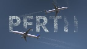 Flying airplanes trails and Perth caption. Traveling to Australia conceptual 3D rendering. Flying airplanes and Perth caption. Traveling to Australia conceptual royalty free illustration