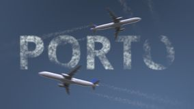 Flying airplanes trails and Porto caption. Traveling to Portugal conceptual 3D rendering. Flying airplanes and Porto caption. Traveling to Portugal conceptual 3D stock illustration