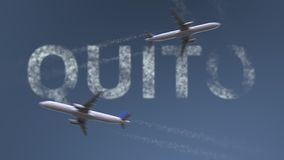 Flying airplanes trails and Quito caption. Traveling to Ecuador conceptual 3D rendering. Flying airplanes and Quito caption. Traveling to Ecuador conceptual 3D stock illustration