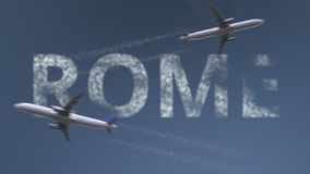 Flying airplanes trails and Rome caption. Traveling to Italy conceptual 3D rendering. Flying airplanes and Rome caption. Traveling to Italy conceptual 3D royalty free illustration