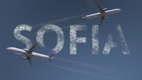 Flying airplanes trails and Sofia caption. Traveling to Bulgaria conceptual 3D rendering. Flying airplanes and Sofia caption. Traveling to Bulgaria conceptual 3D vector illustration
