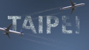 Flying airplanes trails and Taipei caption. Traveling to Taiwan conceptual 3D rendering. Flying airplanes and Taipei caption. Traveling to Taiwan conceptual 3D vector illustration
