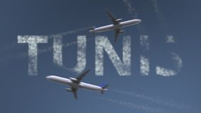 Flying airplanes trails and Tunis caption. Traveling to Tunisia conceptual 3D rendering. Flying airplanes and Tunis caption. Traveling to Tunisia conceptual 3D royalty free illustration
