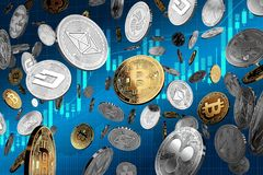 Flying altcoins with Bitcoin in the center as the leader. Bitcoin as most important cryptocurrency concept. 3D illustration. Golden NEO cryptocurrency physical vector illustration