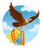 Flying American eagle carries the shopping bags from the sale. Cartoon styled vector illustration. Elements is grouped. No transparent objects Royalty Free Stock Images