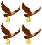 Flying American Eagle Holds Coin. Dollar, Euro, Yen, Pound Ster Royalty Free Stock Photography