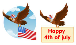 Flying American eagle in the patriotic hat holds American flag. Or Happy 4th of July banner. Cartoon styled vector illustration. Elements is grouped. No Royalty Free Stock Image