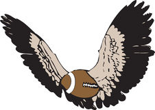 Flying american football - or rugby vector. A flying american / rugby ball with wings Stock Images