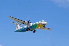 Flying An Airplane Airline Bangkok Airways Over The Island Of Koh Samui, Thailand. Royalty Free Stock Photos