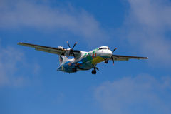 Flying An Airplane Airline Bangkok Airways Over The Island Of Koh Samui, Thailand. Royalty Free Stock Image