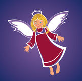 Flying Angel. Flying baby angel with a halo and wings stock illustration