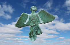 Flying Angel. An angel flying through the clouds and a blue sky Stock Images