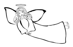 Flying angel. Drawing  eps 10 Royalty Free Stock Photos