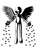 Flying Angel Of Love. Illustration showing an angel throwing down hearts of love Stock Photography