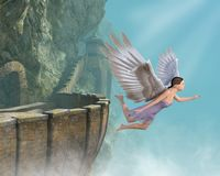 Flying Angel, Mountain Castle, Freedom. Abstract concept of a flying angel at a mountain castle. The woman represents love, peace and hope Stock Photography