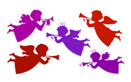 Flying angel playing trumpet. Silhouette heavenly messenger, cherub icon or symbol. Vector illustration Stock Images