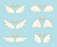 Flying angel wings with gold nimbus. Angelic wing cartoon vector set. Illustration of holy symbol collection Royalty Free Stock Photo