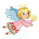 Flying angel with wings holding in hands star. Royalty Free Stock Images