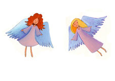 Flying angels. Two colorful angels flying in the sky stock images